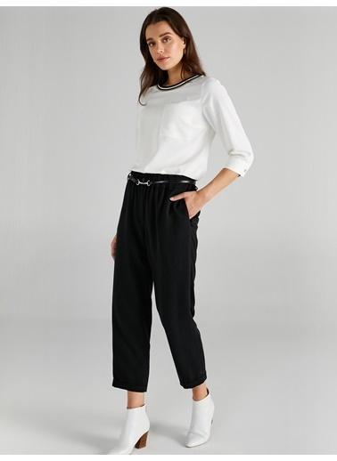 Faik Sönmez  Paperbag Comfort Form Yumuşak Doku  Pantolon 61536 Siyah